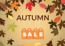 Free vector Autumn sale with leaves and labels #23720