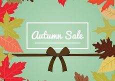 Free vector Autumn sale with leaves and ribbon #23722