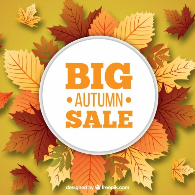 Free vector Autumn sale with leaves and warm colors #23736