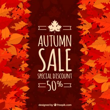 Free vector Autumn sale with leaves and warm colors #23694