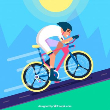 Free vector Background of cyclist in a landscape in flat design #23826