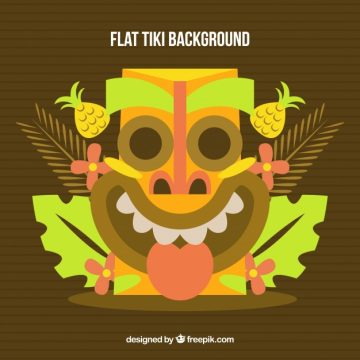 Free vector Background of funny tiki mask in flat design #24226