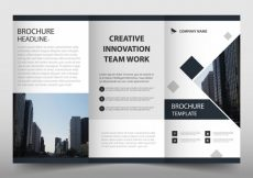 Free vector Black trifold leaflet template #23428