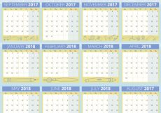 Free vector Blue school calendar #23622