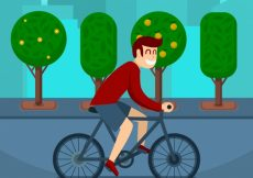 Free vector Boy with bicycle background #23754