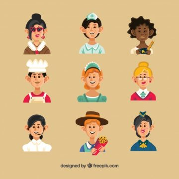 Free vector Cartoon avatars of smiley women #24258