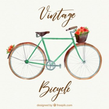 Free vector Classic watercolor retro bicycle background #23812