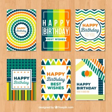 Free vector Collection of abstract colorful card for happy birthday #23410