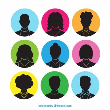 Free vector Collection of hand drawn avatar of people silhouette #24357