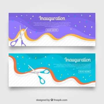Free vector Colorful pack of inauguration party banners #23462