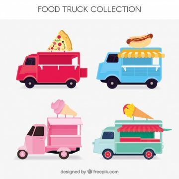 Free vector Colorful set of fun food trucks #23852