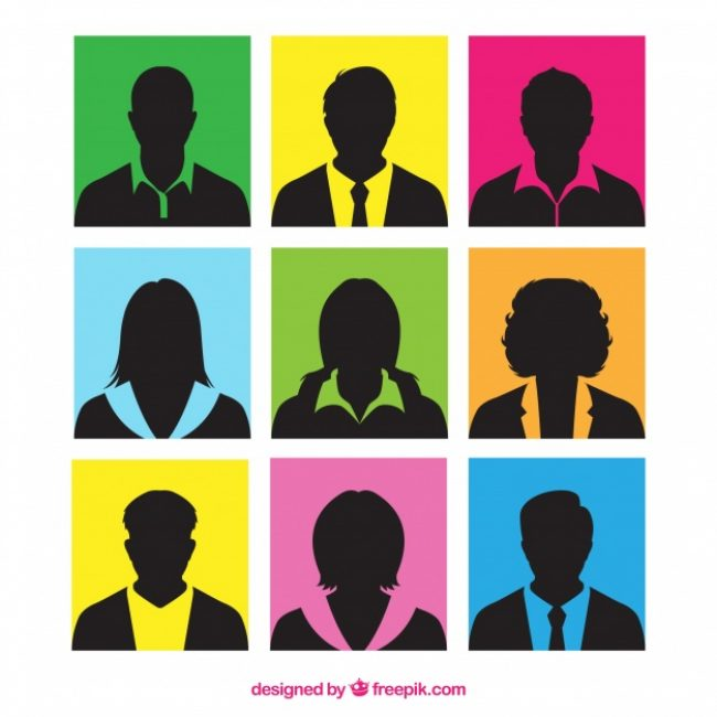 Free vector Colorful squares with silhouettes of people #24351