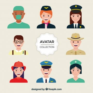 Free vector Colorful variety of smiley jobs avatars #24399
