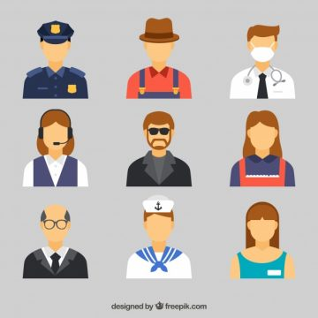 Free vector Cute set of avatars with different jobs #24423