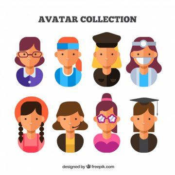 Free vector Female job avatars with flat design #24295