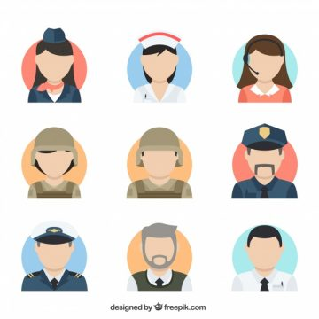 Free vector Flat colletion of professions avatars #24317