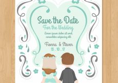 Free vector Flat wedding invitation with couple #23940