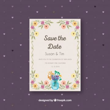 Free vector Flat wedding invitation with floral frame #23928