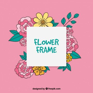 Free vector Floral frame on a pink background #24034