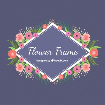 Free vector Floral frame on a purple background #24044
