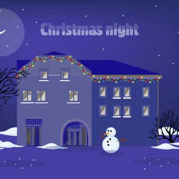 Free vector Free Christmas Night Vector Illustration #24001