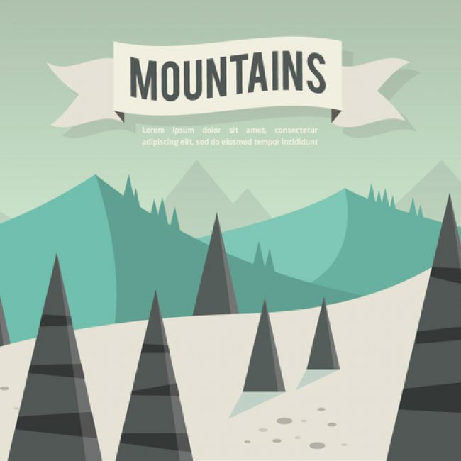 Free vector Free Flat Mountains Landscape Vector #23843