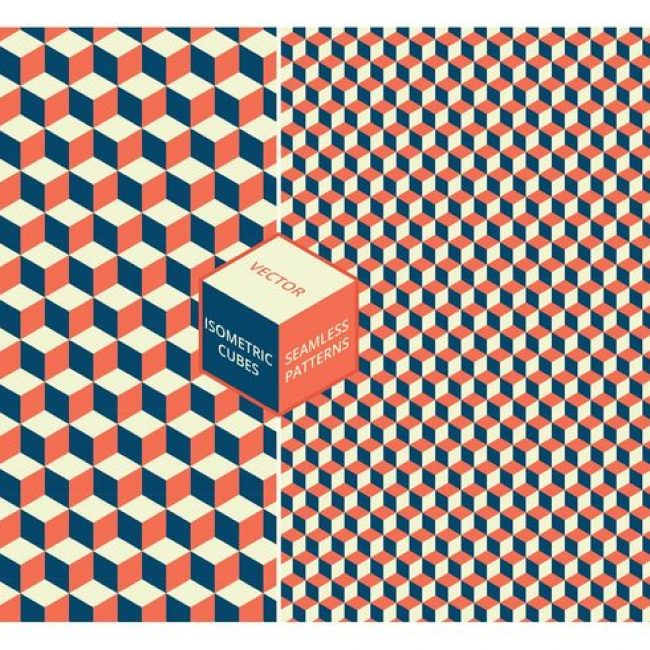 Free vector Free Isometric Cubes Seamless Vector Patterns #24257