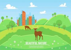 Free vector Free Vector Landscape With Deers #23949
