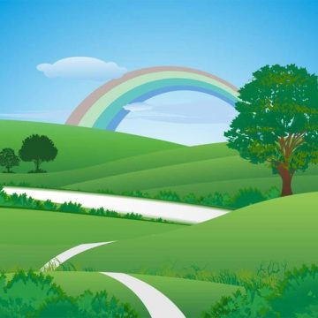 Free vector Fresh green landscape with rainbow #23899