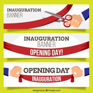 Free vector Fun collection of inauguration banners #23476