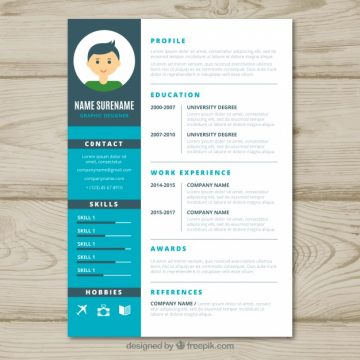 Free vector Graphic designer cv template #24112