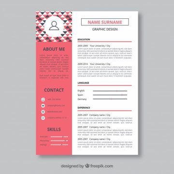 Free vector Graphic designer resume template #24120