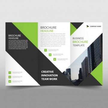 Free vector Green and black trifold leaflet template #23426