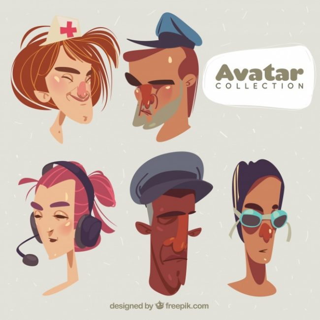 Free vector Hand drawn avatars with artisitic style #24232