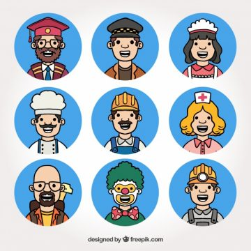 Free vector Hand drawn collection of smiley job avatars #24319