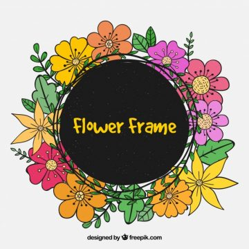 Free vector Hand-drawn floral frame with spring flowers #24032
