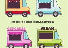 Free vector Hand drawn variety of colorful food trucks #23544