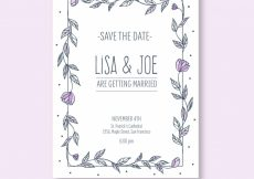 Free vector Hand drawn wedding invitation with floral frame #23958