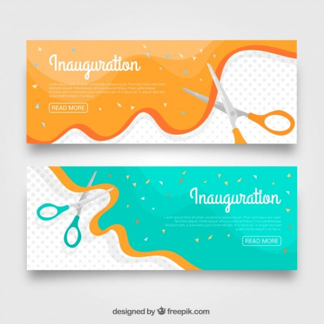 Free vector Inauguration party banners with lovely style #23480