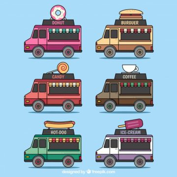 Free vector Lovely pack of hand drawn food trucks #23848