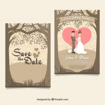 Free vector Lovely wedding card with couple and trees #23908