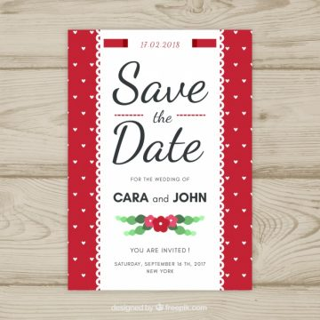 Free vector Lovely wedding invitation with flat design #23964