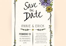 Free vector Lovely wedding invitation with hand drawn flowers #23960