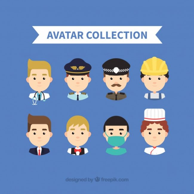Free vector Male workers avatar collection #24431