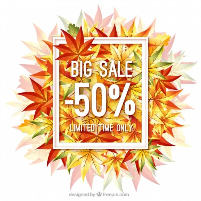 Free vector Modern autumn sale with leaves and frame #23742