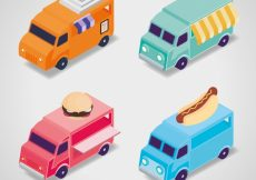 Free vector Modern collection with isometric food trucks #23856