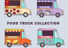 Free vector Modern food trucks with hand drawn style #23542