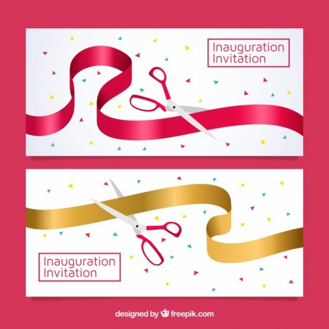 Free vector Modern opening party banners with scissors #23470