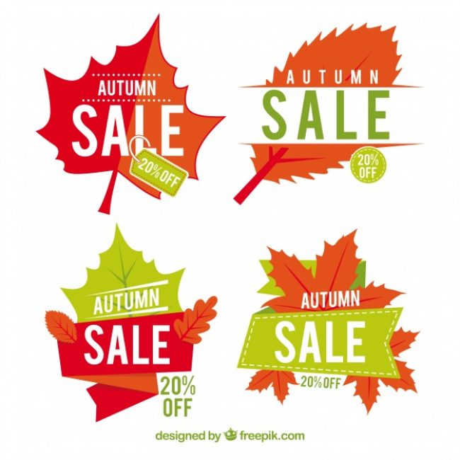 Free vector Modern pack of flat autumn sale labels #23724
