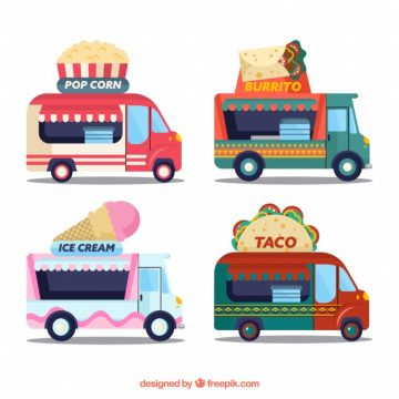 Free vector Modern variety of flat food trucks #23864